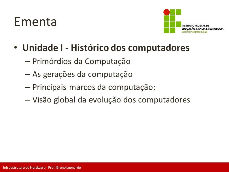 Ementa Unidade I - Histórico dos computadores Primórdios da Computação