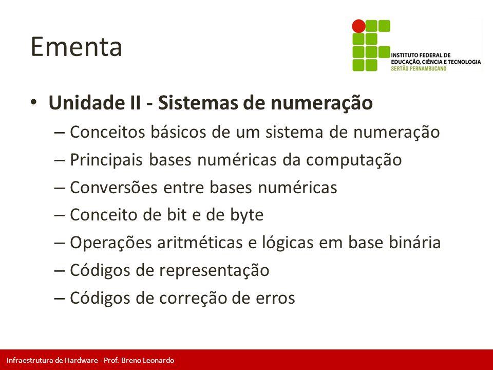 Ementa Unidade II - Sistemas de numeração