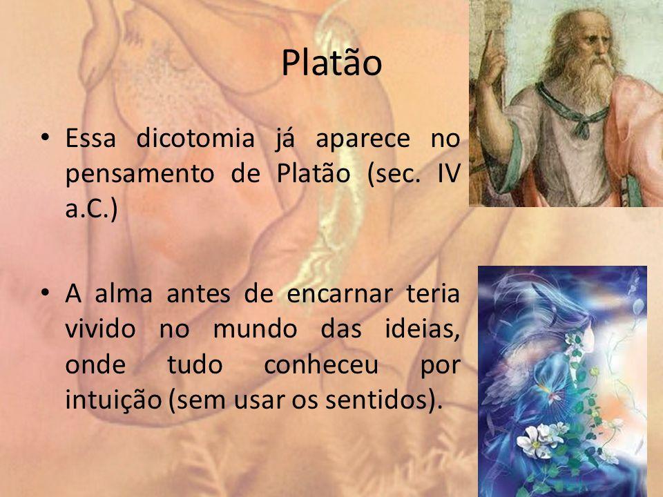 Platão Essa dicotomia já aparece no pensamento de Platão (sec. IV a.C.)