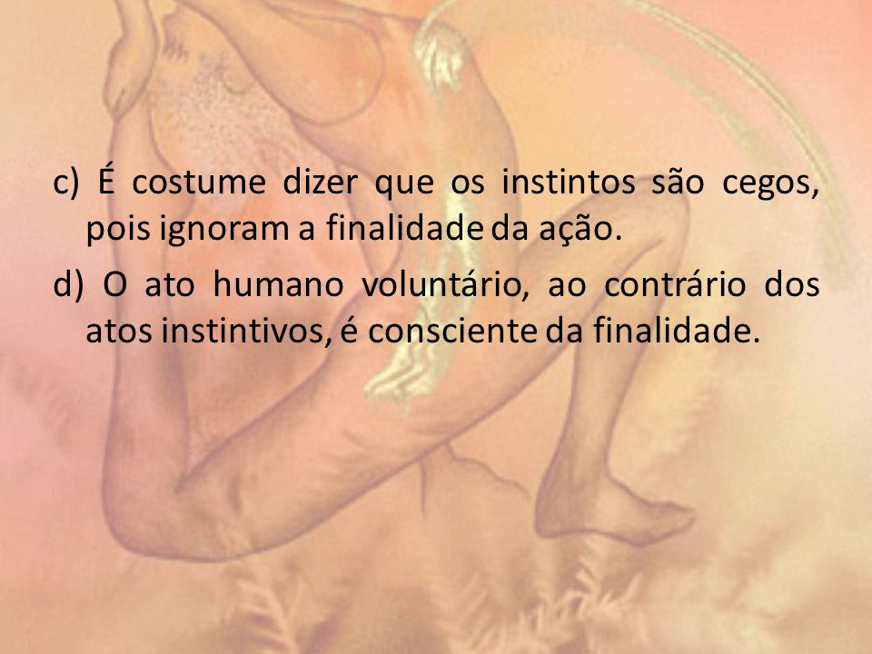 c) É costume dizer que os instintos são cegos, pois ignoram a finalidade da ação.