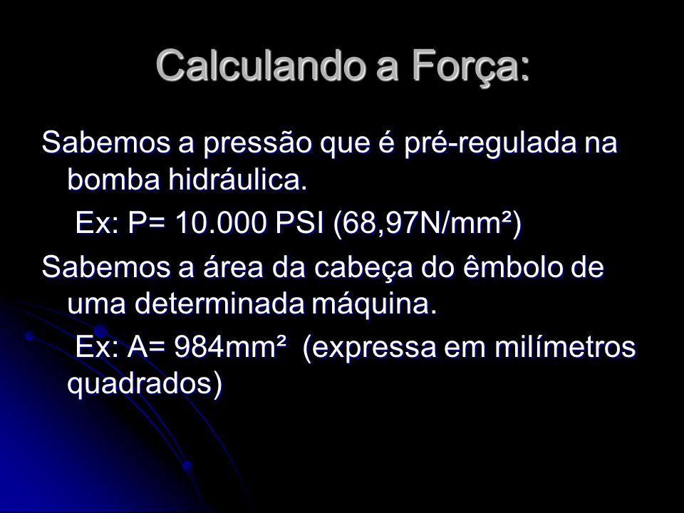Calculando a Força: Sabemos a pressão que é pré-regulada na bomba hidráulica. Ex: P= 10.000 PSI (68,97N/mm²)