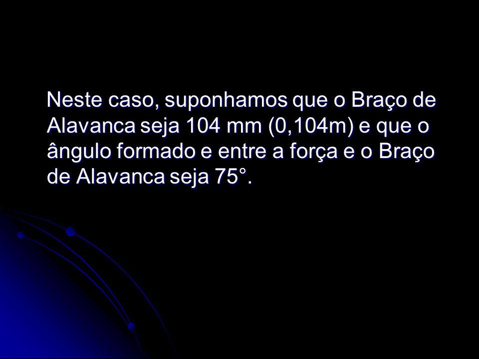Neste caso, suponhamos que o Braço de Alavanca seja 104 mm (0,104m) e que o ângulo formado e entre a força e o Braço de Alavanca seja 75°.