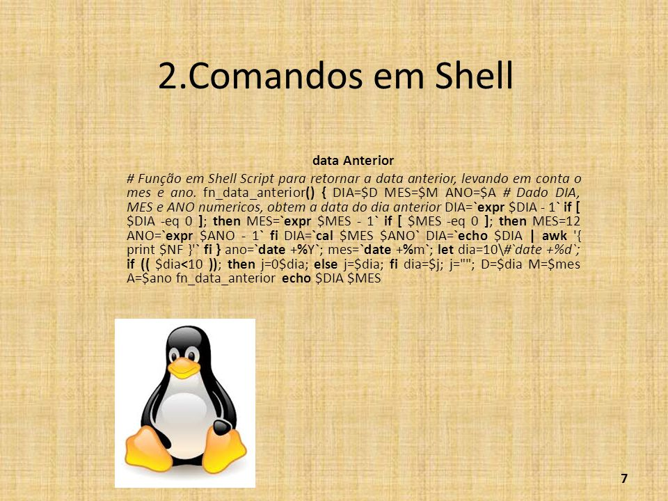 2.Comandos em Shell data Anterior