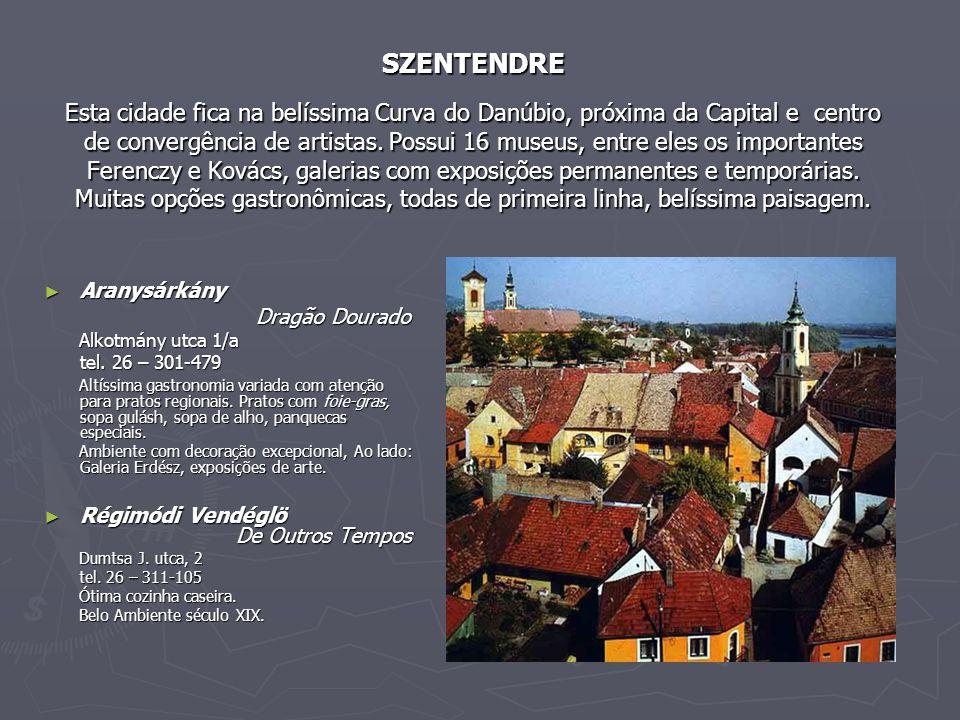 SZENTENDRE Esta cidade fica na belíssima Curva do Danúbio, próxima da Capital e centro de convergência de artistas. Possui 16 museus, entre eles os importantes Ferenczy e Kovács, galerias com exposições permanentes e temporárias. Muitas opções gastronômicas, todas de primeira linha, belíssima paisagem.