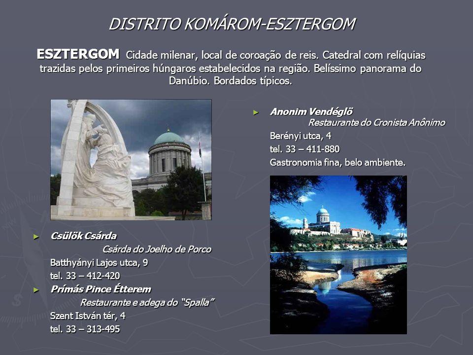 DISTRITO KOMÁROM-ESZTERGOM ESZTERGOM Cidade milenar, local de coroação de reis. Catedral com relíquias trazidas pelos primeiros húngaros estabelecidos na região. Belíssimo panorama do Danúbio. Bordados típicos.