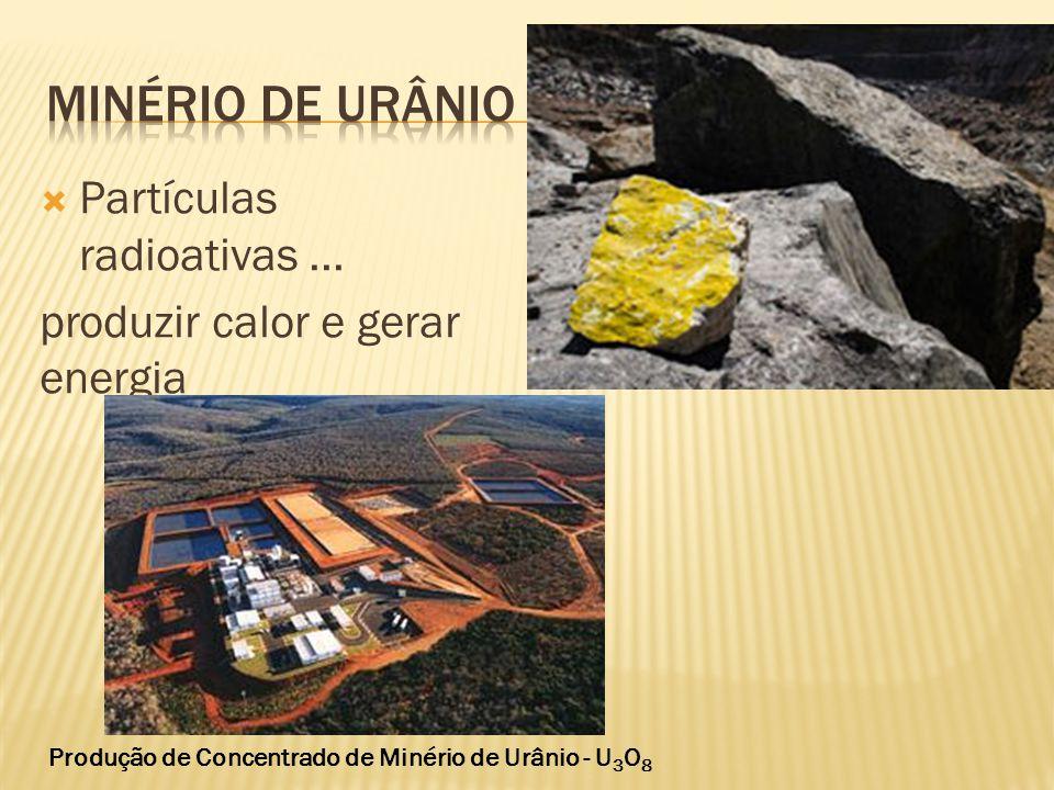 Minério de urânio Partículas radioativas ...