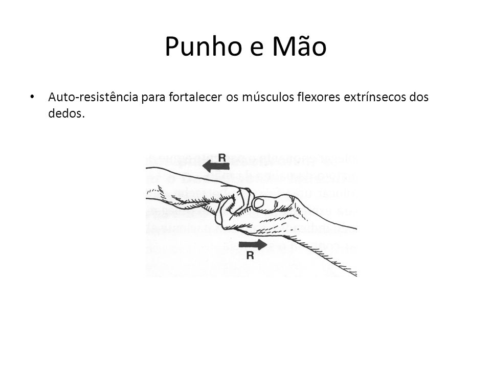Punho e Mão Auto-resistência para fortalecer os músculos flexores extrínsecos dos dedos.