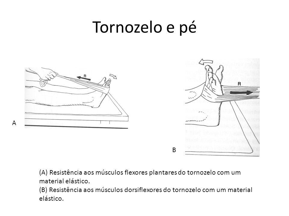 Tornozelo e pé A. B. (A) Resistência aos músculos flexores plantares do tornozelo com um material elástico.