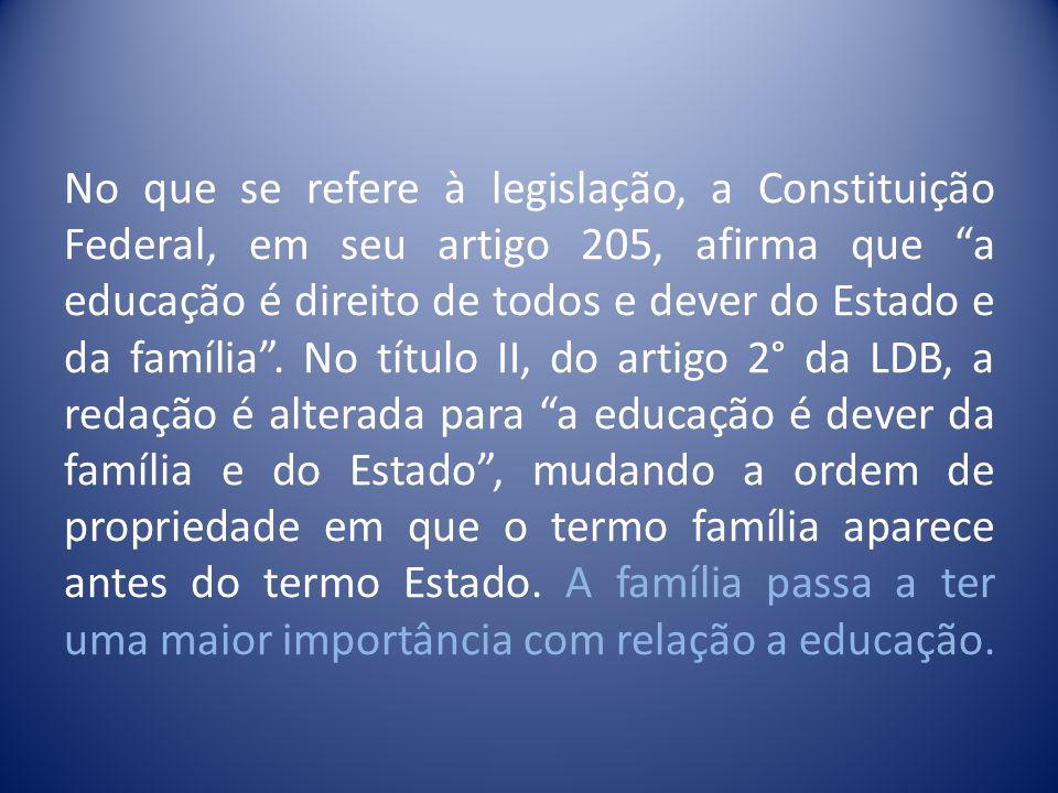 No que se refere à legislação, a Constituição Federal, em seu artigo 205, afirma que a educação é direito de todos e dever do Estado e da família .