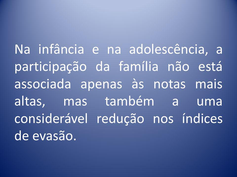 Na infância e na adolescência, a participação da família não está associada apenas às notas mais altas, mas também a uma considerável redução nos índices de evasão.
