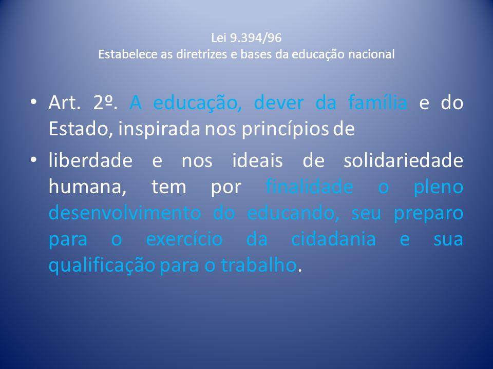 Lei 9.394/96 Estabelece as diretrizes e bases da educação nacional