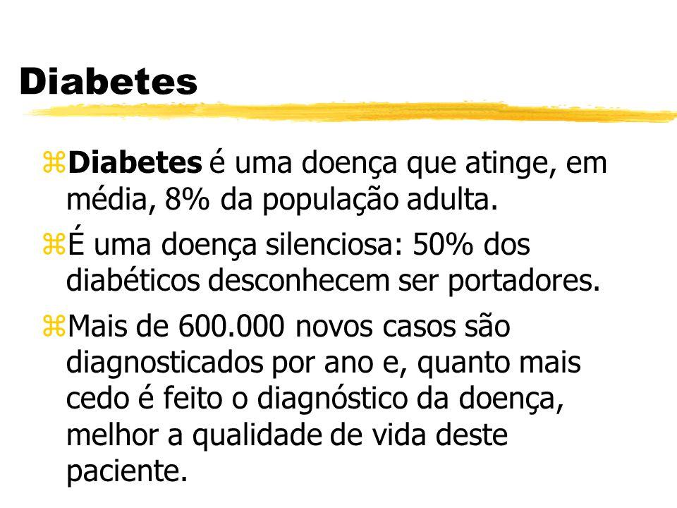 Diabetes Diabetes é uma doença que atinge, em média, 8% da população adulta.