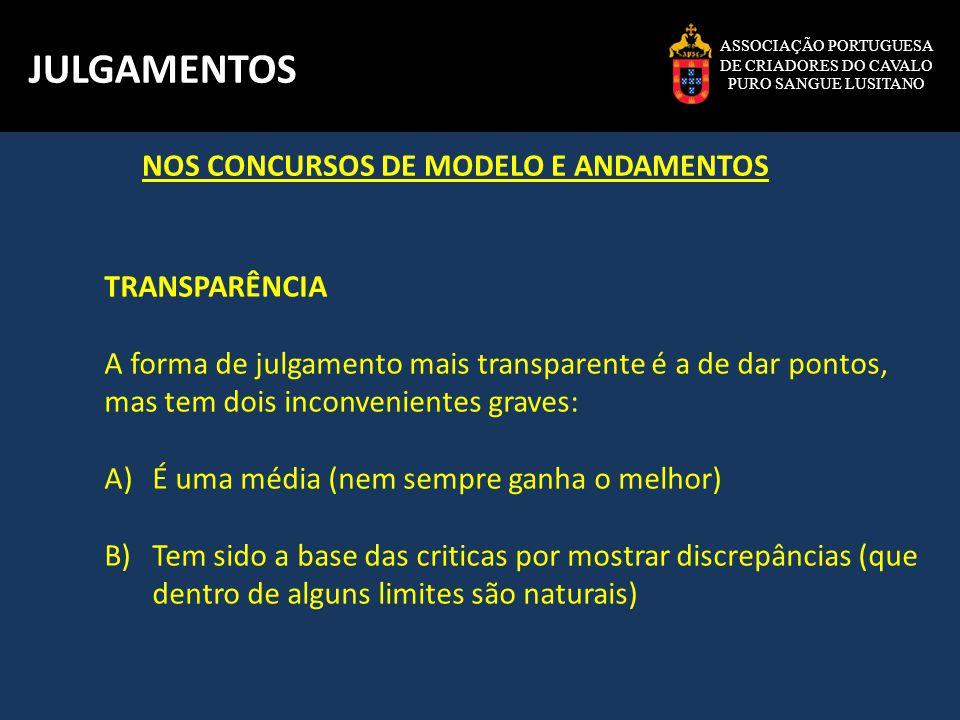 JULGAMENTOS NOS CONCURSOS DE MODELO E ANDAMENTOS TRANSPARÊNCIA