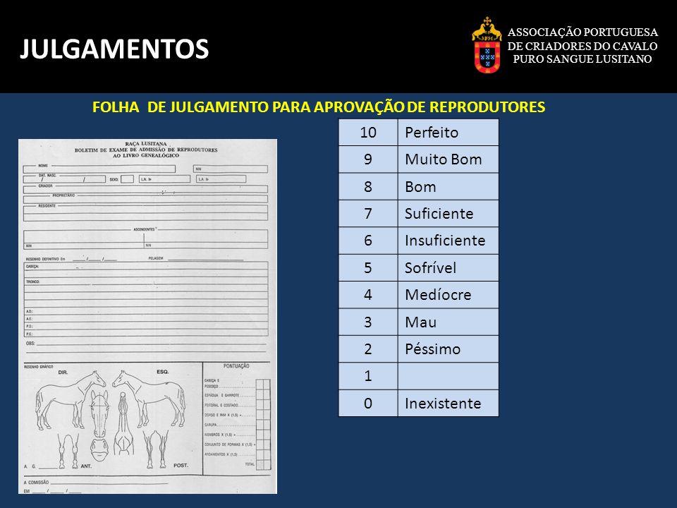 JULGAMENTOS FOLHA DE JULGAMENTO PARA APROVAÇÃO DE REPRODUTORES 10