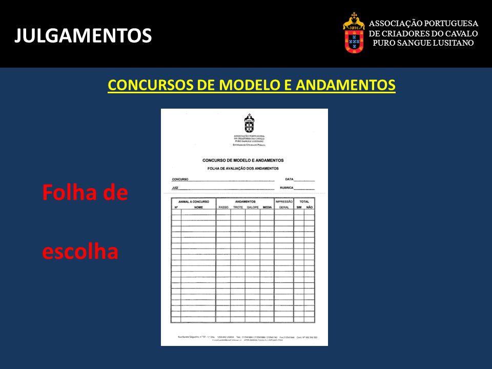 Folha de escolha JULGAMENTOS CONCURSOS DE MODELO E ANDAMENTOS