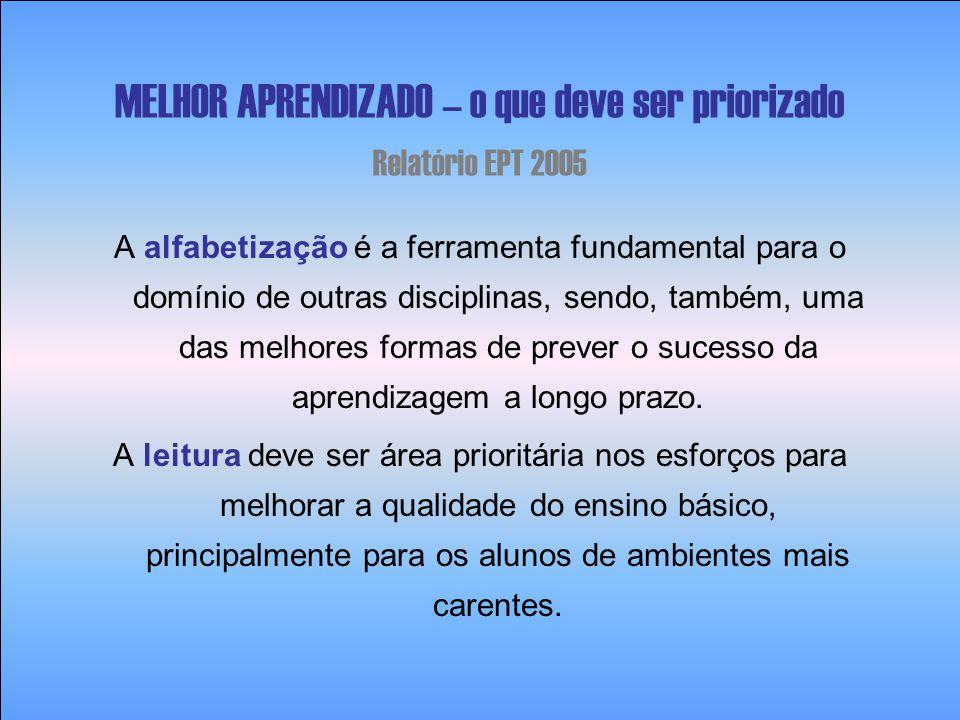 MELHOR APRENDIZADO – o que deve ser priorizado Relatório EPT 2005