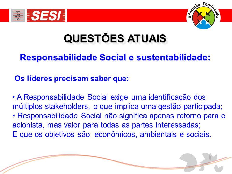 QUESTÕES ATUAIS Responsabilidade Social e sustentabilidade: