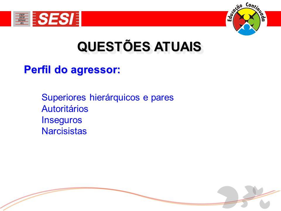 QUESTÕES ATUAIS Perfil do agressor: Superiores hierárquicos e pares