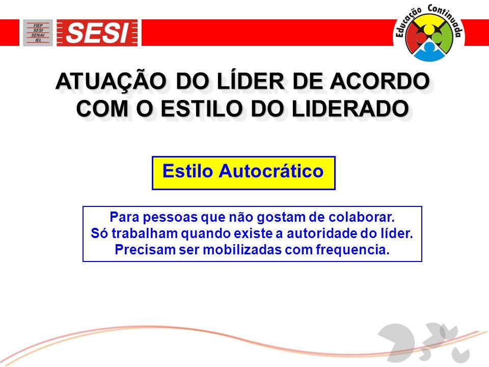 ATUAÇÃO DO LÍDER DE ACORDO COM O ESTILO DO LIDERADO