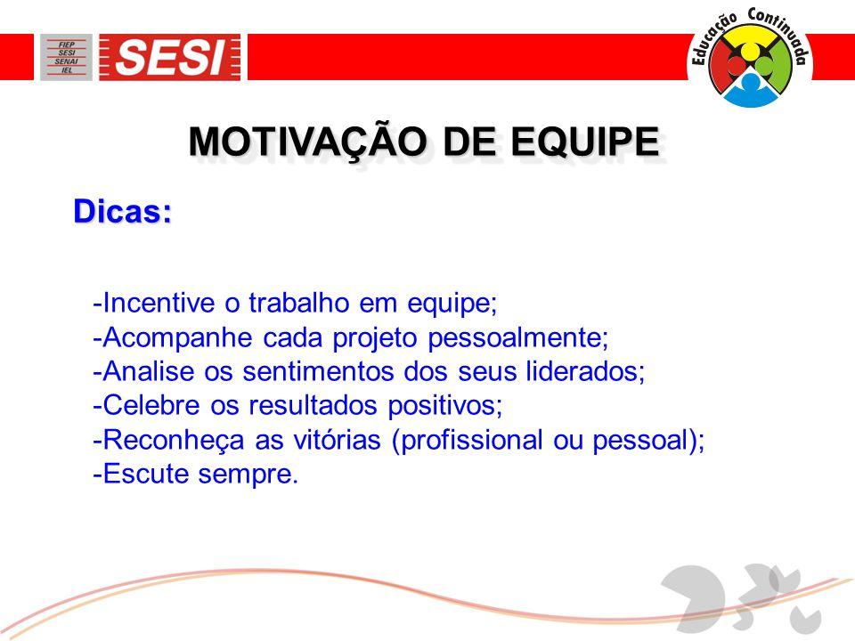 MOTIVAÇÃO DE EQUIPE Dicas: Incentive o trabalho em equipe;