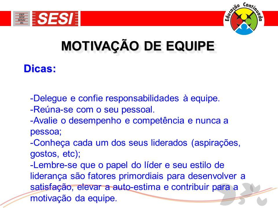 MOTIVAÇÃO DE EQUIPE Dicas: