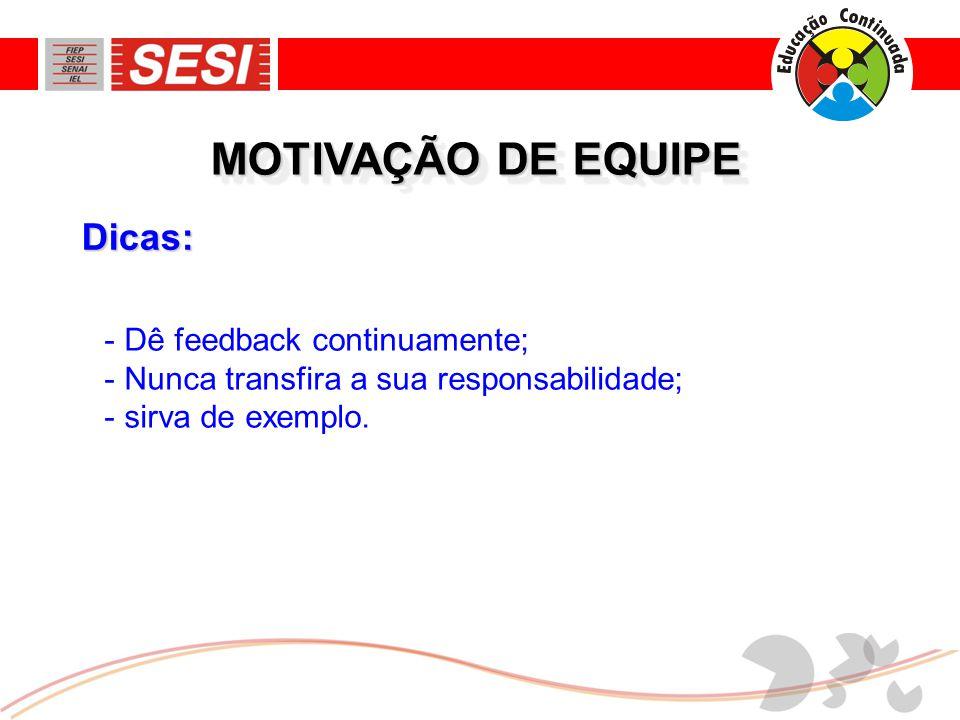 MOTIVAÇÃO DE EQUIPE Dicas: Dê feedback continuamente;