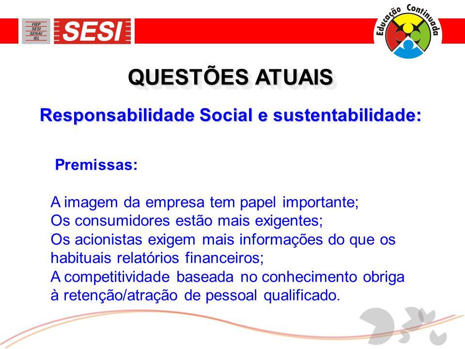 QUESTÕES ATUAIS Responsabilidade Social e sustentabilidade: Premissas: