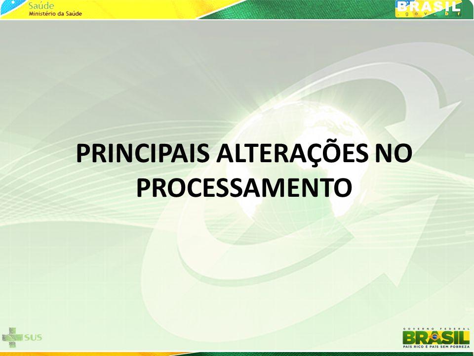 PRINCIPAIS ALTERAÇÕES NO PROCESSAMENTO