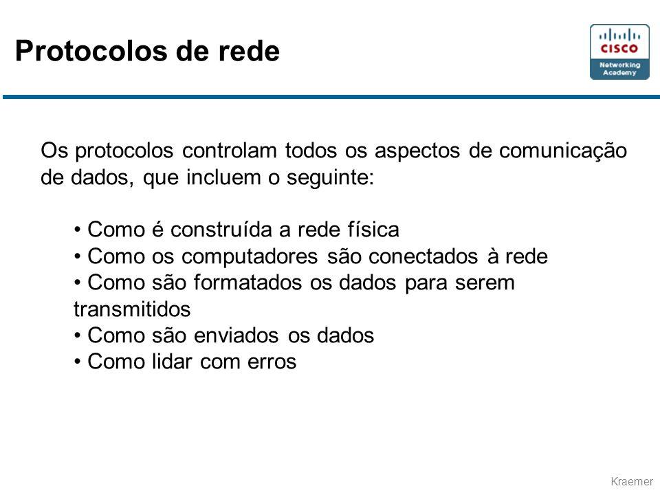 Protocolos de rede Os protocolos controlam todos os aspectos de comunicação de dados, que incluem o seguinte:
