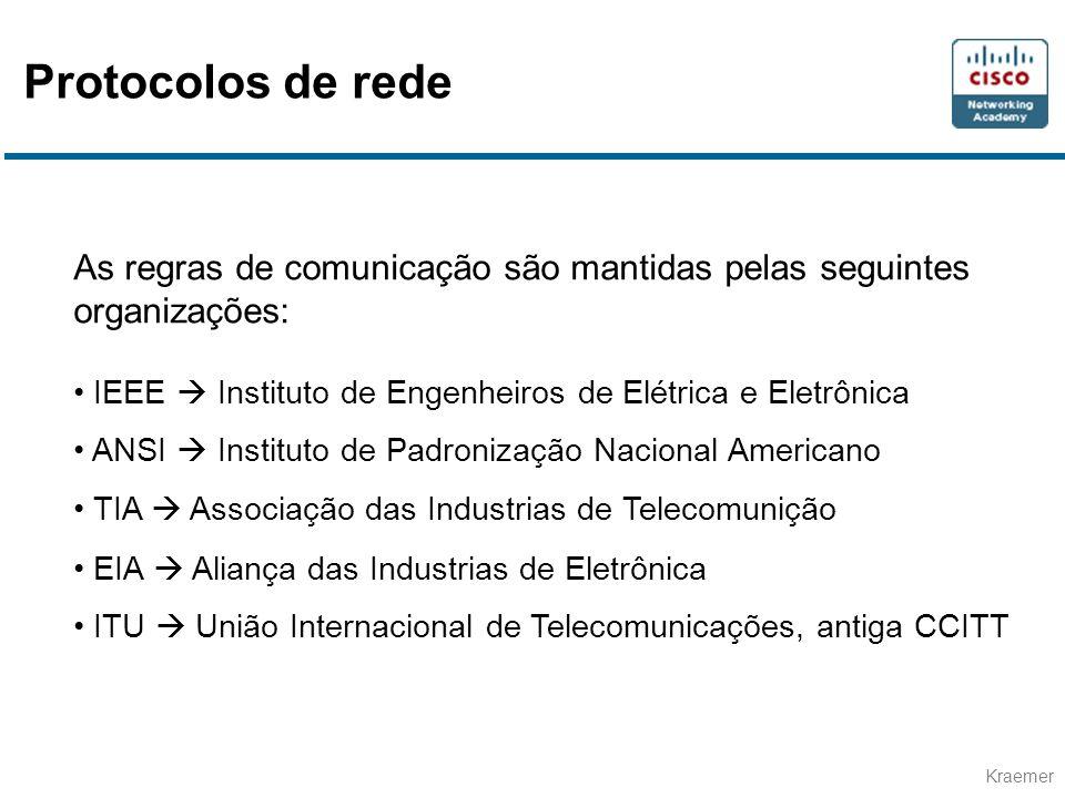 Protocolos de rede As regras de comunicação são mantidas pelas seguintes organizações: IEEE  Instituto de Engenheiros de Elétrica e Eletrônica.