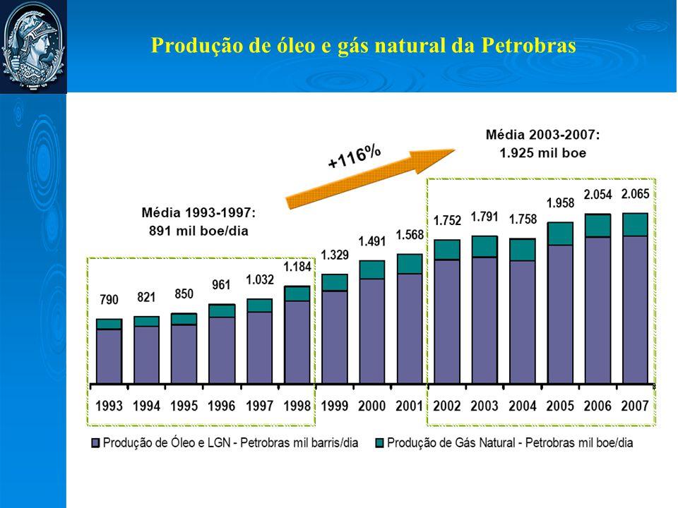 Produção de óleo e gás natural da Petrobras