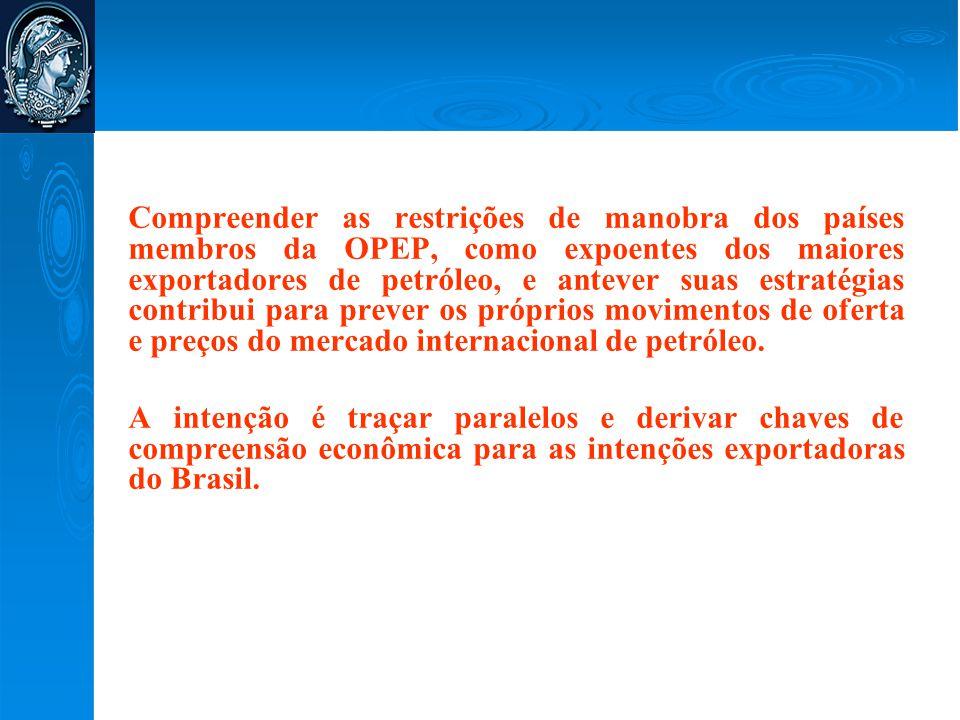 Compreender as restrições de manobra dos países membros da OPEP, como expoentes dos maiores exportadores de petróleo, e antever suas estratégias contribui para prever os próprios movimentos de oferta e preços do mercado internacional de petróleo.
