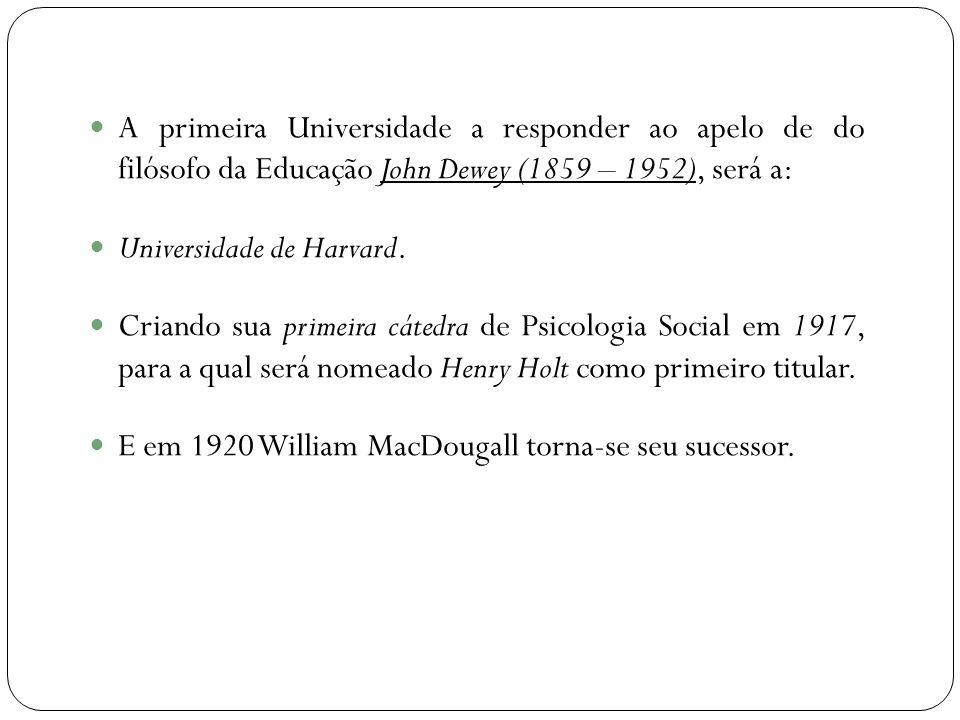 A primeira Universidade a responder ao apelo de do filósofo da Educação John Dewey (1859 – 1952), será a: