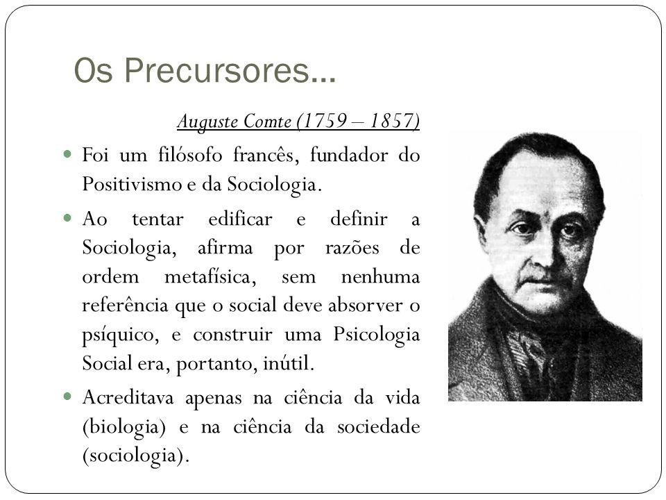 Os Precursores... Auguste Comte (1759 – 1857)