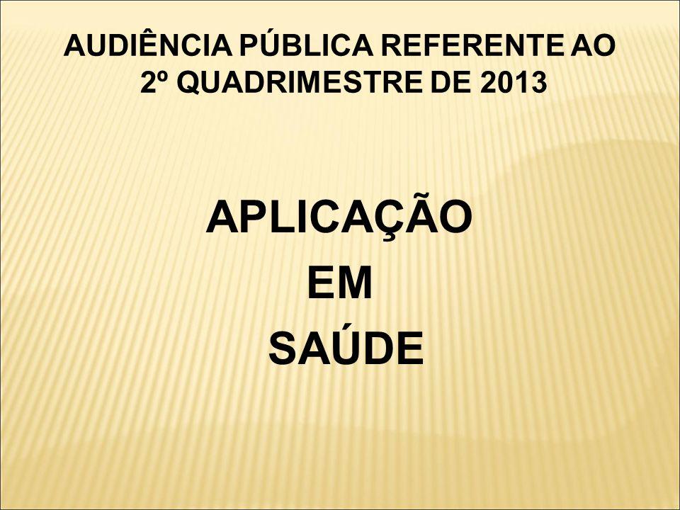 AUDIÊNCIA PÚBLICA REFERENTE AO 2º QUADRIMESTRE DE 2013
