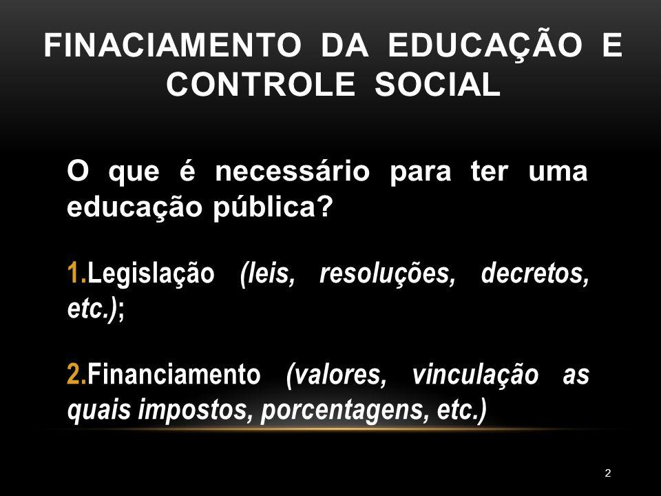 FINACIAMENTO DA EDUCAÇÃO E CONTROLE SOCIAL