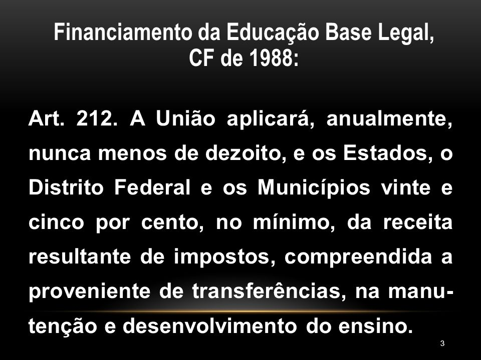 Financiamento da Educação Base Legal, CF de 1988: