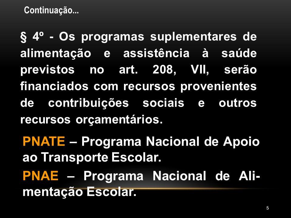 PNATE – Programa Nacional de Apoio ao Transporte Escolar.
