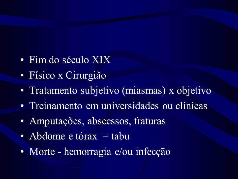 Fim do século XIX Físico x Cirurgião. Tratamento subjetivo (miasmas) x objetivo. Treinamento em universidades ou clínicas.