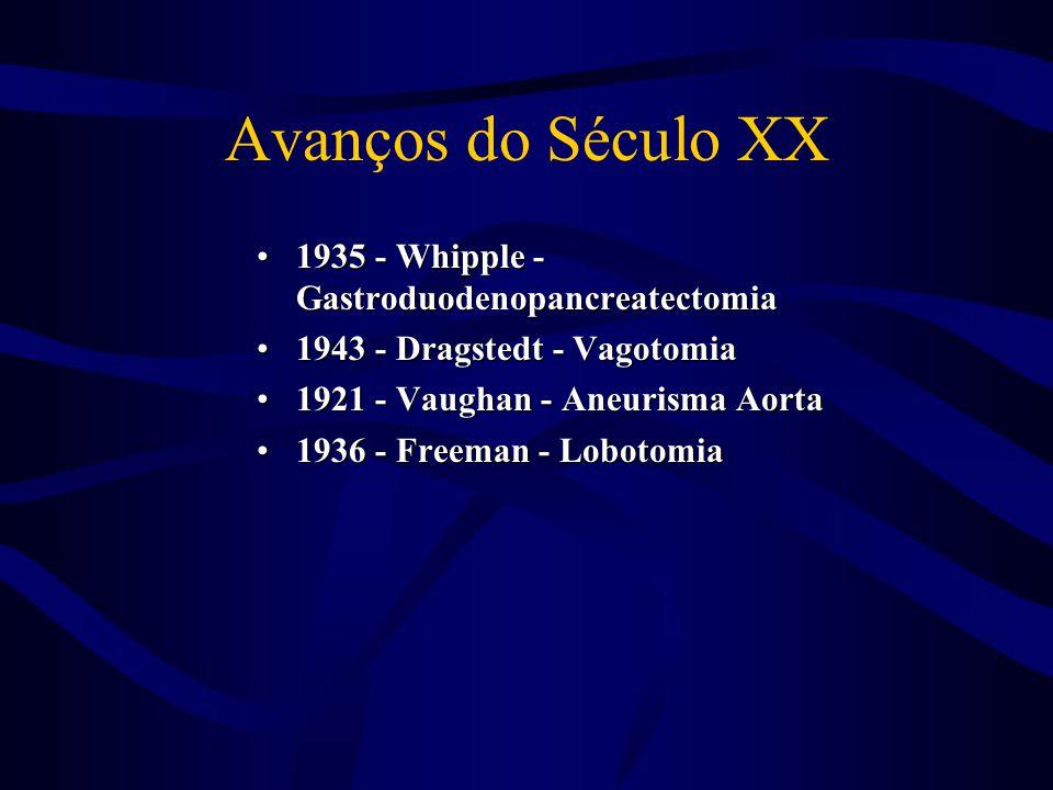 Avanços do Século XX 1935 - Whipple - Gastroduodenopancreatectomia