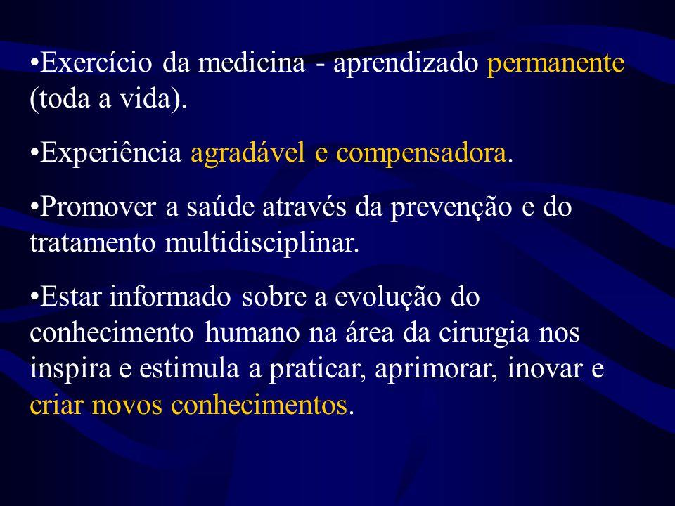 Exercício da medicina - aprendizado permanente (toda a vida).