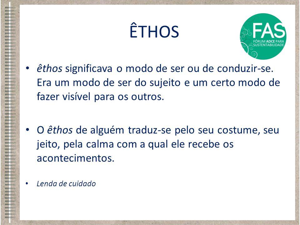 ÊTHOS êthos significava o modo de ser ou de conduzir-se. Era um modo de ser do sujeito e um certo modo de fazer visível para os outros.