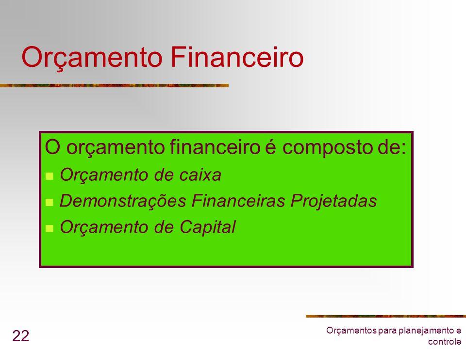 Orçamento Financeiro O orçamento financeiro é composto de: