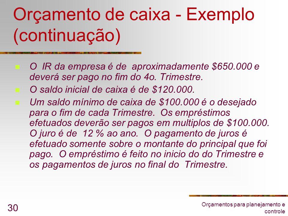 Orçamento de caixa - Exemplo (continuação)