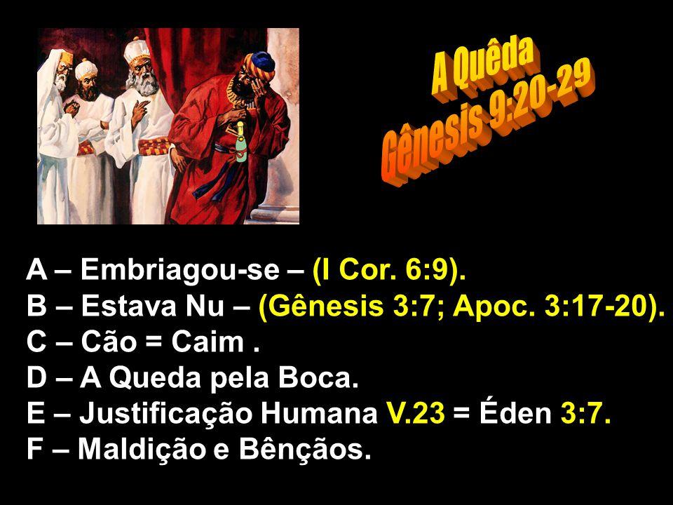 A Quêda Gênesis 9:20-29 A – Embriagou-se – (I Cor. 6:9).