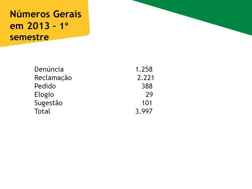 Números Gerais em 2013 – 1º semestre