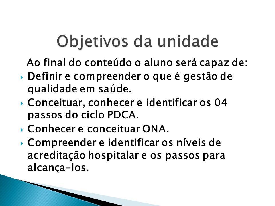 Objetivos da unidade Ao final do conteúdo o aluno será capaz de: