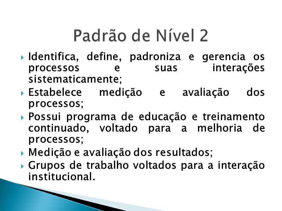 Padrão de Nível 2 Identifica, define, padroniza e gerencia os processos e suas interações sistematicamente;