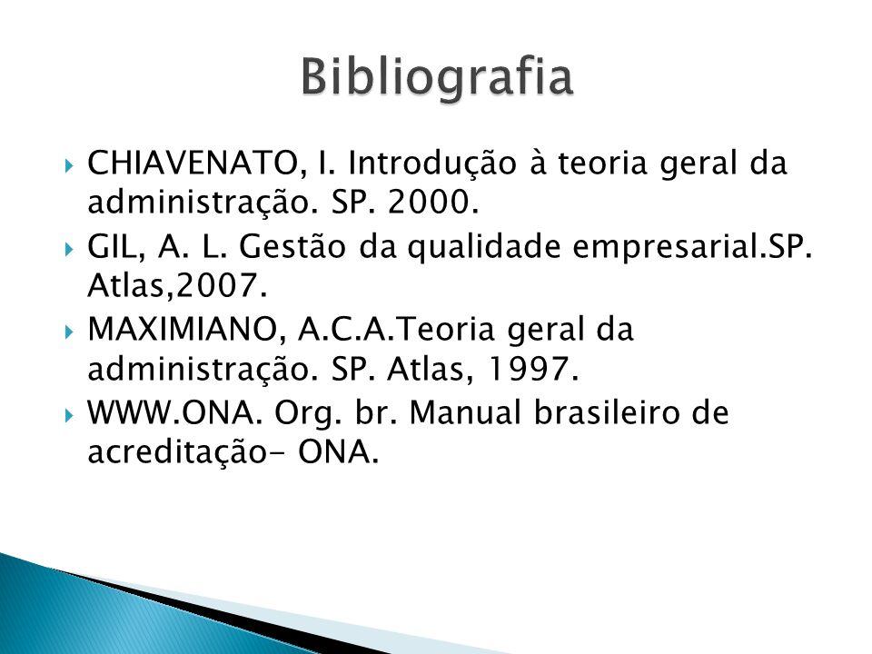 Bibliografia CHIAVENATO, I. Introdução à teoria geral da administração. SP. 2000. GIL, A. L. Gestão da qualidade empresarial.SP. Atlas,2007.