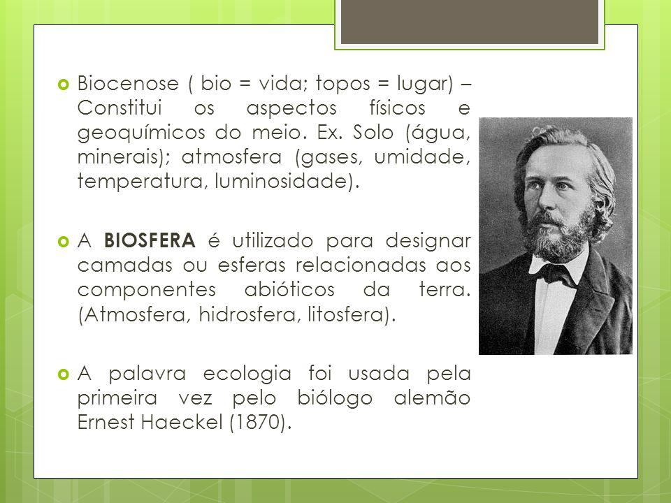 Biocenose ( bio = vida; topos = lugar) – Constitui os aspectos físicos e geoquímicos do meio. Ex. Solo (água, minerais); atmosfera (gases, umidade, temperatura, luminosidade).